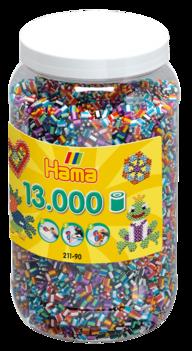 Hama 211-90  13000st  Randig mix färg på burk