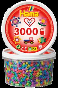 Hama 210-50  3000st 6 färger pastell