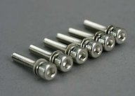 Traxxas 5142 Screws, 3x15mm cap-head machine (hex drive) (with split and flat washers) (6)