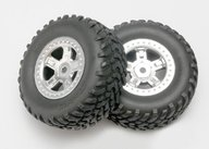 Traxxas 7073 Tires and wheels, assembled, glued (SCT satin chrome wheels, SCT off-road racing tires, foam inserts) (1 each, right & left)