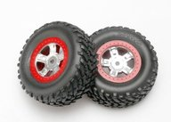 Traxxas 7073A Tires and wheels, assembled, glued (SCT satin chrome wheels, red beadlock style, SCT off-road racing tires, foam inserts) (1 each, right & left)