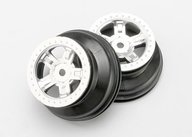 "Traxxas 7072 Wheels, SCT satin chrome, beadlock style, dual profile (1.8"" inner, 1.4"" outer) (2)"