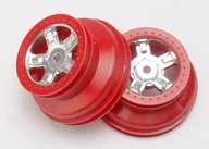 "Traxxas 7072A Wheels, SCT satin chrome, red beadlock style, dual profile (1.8"" inner, 1.4"" outer) (2)"